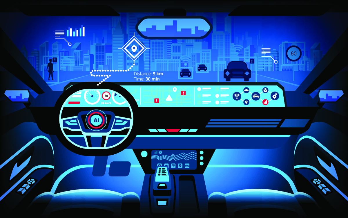 Automobile cockpit, various information monitors and head up dis